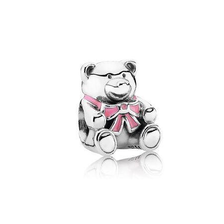 """""""It's A Girl"""" Teddy Bear Charm, Pink Enamel"""