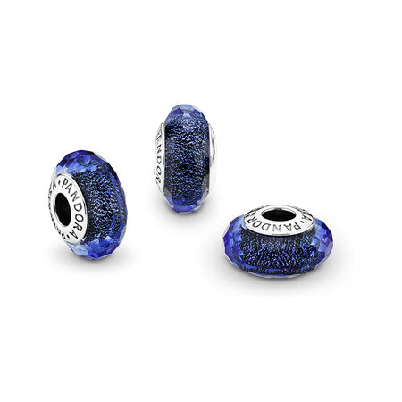 Blue Fascinating Iridescence Charm, Murano Glass, Sterling silver, Glass, Blue - PANDORA - #791646