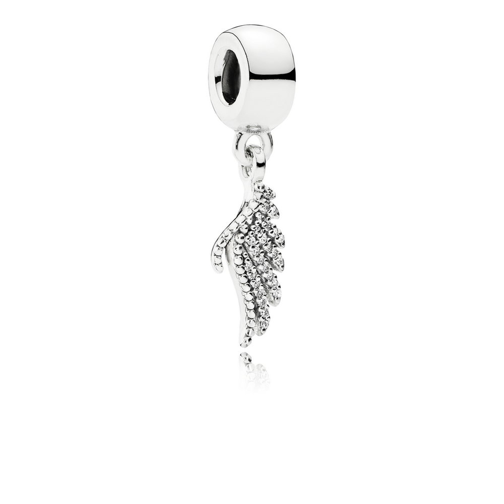 Pandora Sterling Silver Majestic Feather Dangle Charm 791750CZ