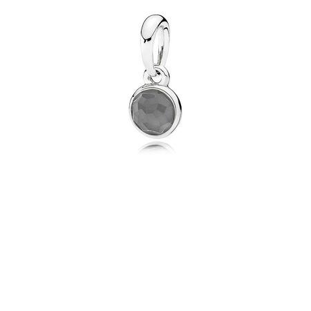 June Droplet Pendant, Grey Moonstone