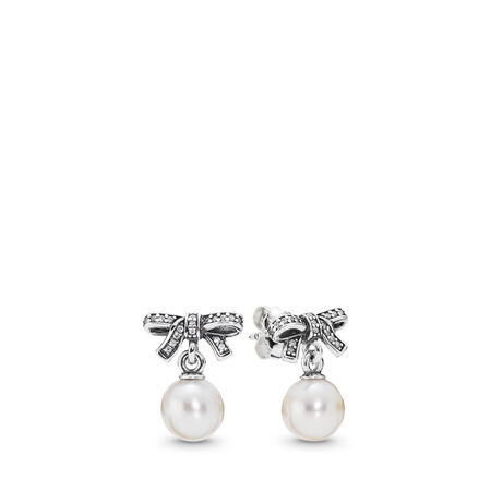 Delicate Sentiments Drop Earrings, White Pearl & Clear CZ, Sterling silver, White, Mixed stones - PANDORA - #290596P