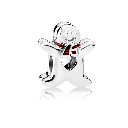 Sweet Gingerbread Man Charm, Translucent Red Enamel