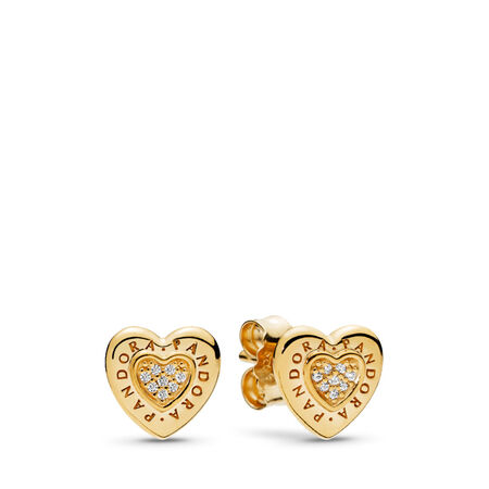 PANDORA Signature Heart Stud Earrings, PANDORA Shine™ & Clear CZ