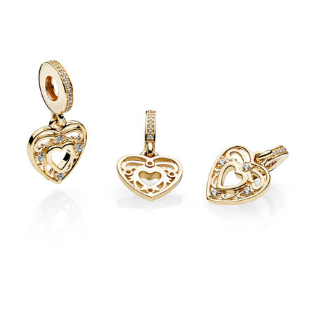 Romantic Heart Dangle Charm, 14K Gold & Clear CZ