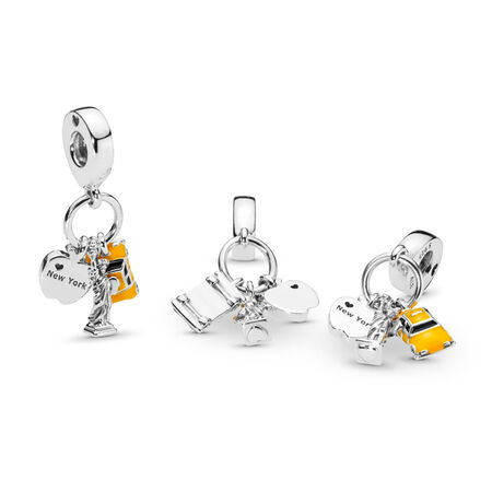 New York Highlights Dangle Charm, Black & Yellow Enamel