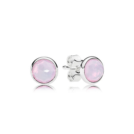 October Droplets Stud Earrings, Opalescent Pink Crystal