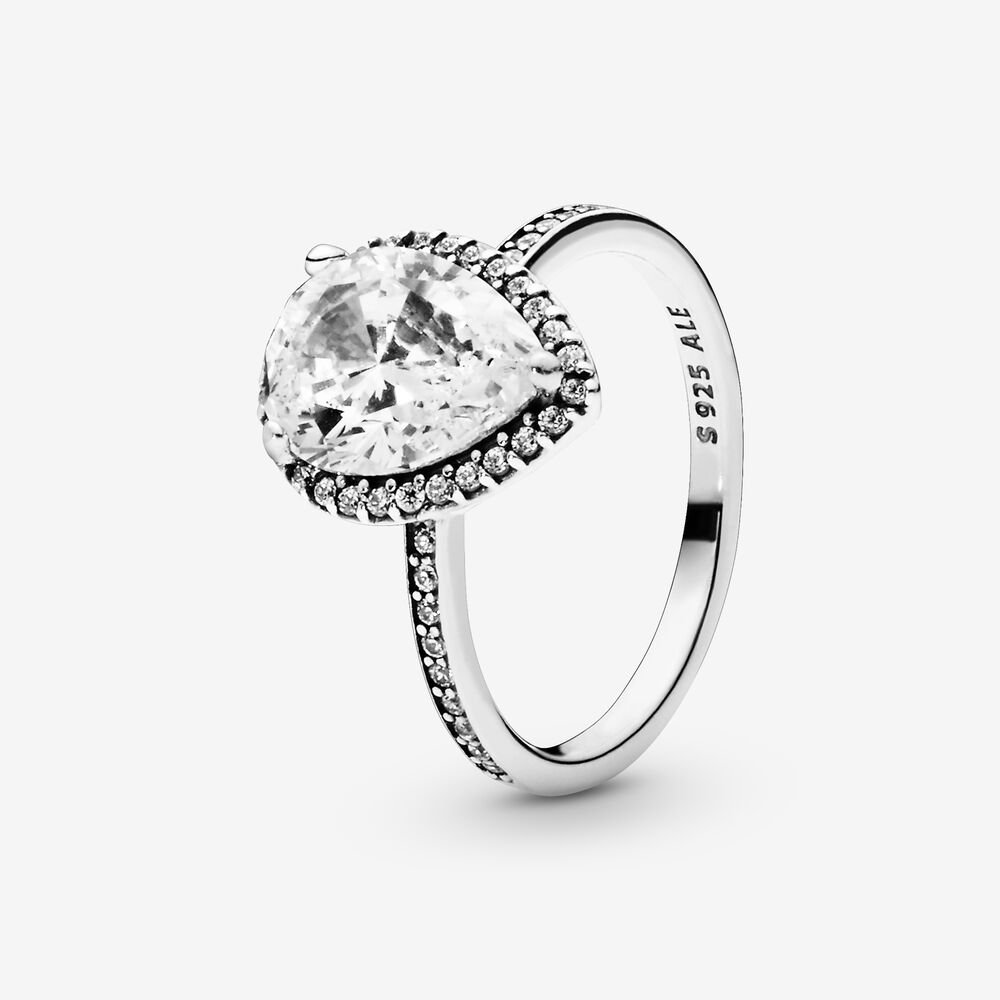Radiant Teardrop Ring with Cubic Zirconia | Sterling silver ...