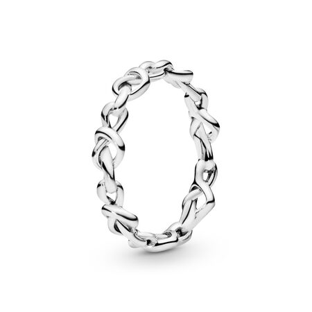 Knotted Hearts Band Ring, Sterling silver - PANDORA - #198018