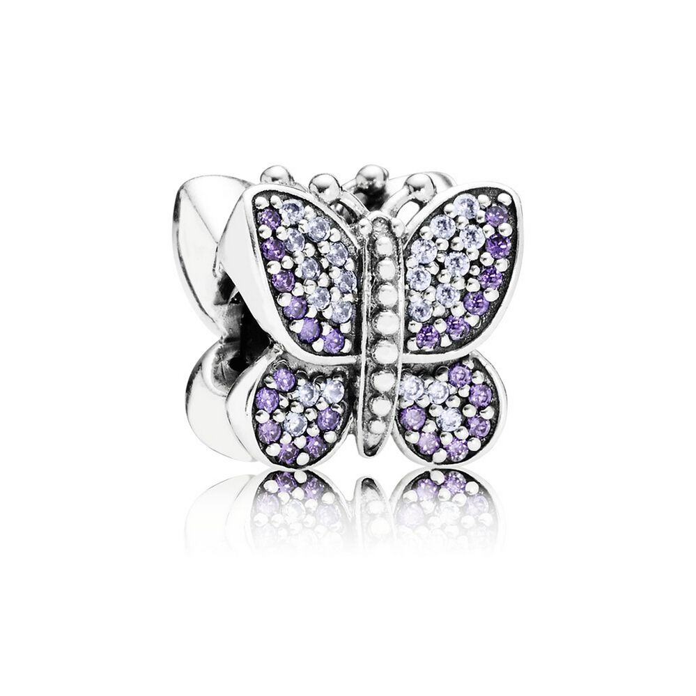 pandora silver purple cz butterfly charm