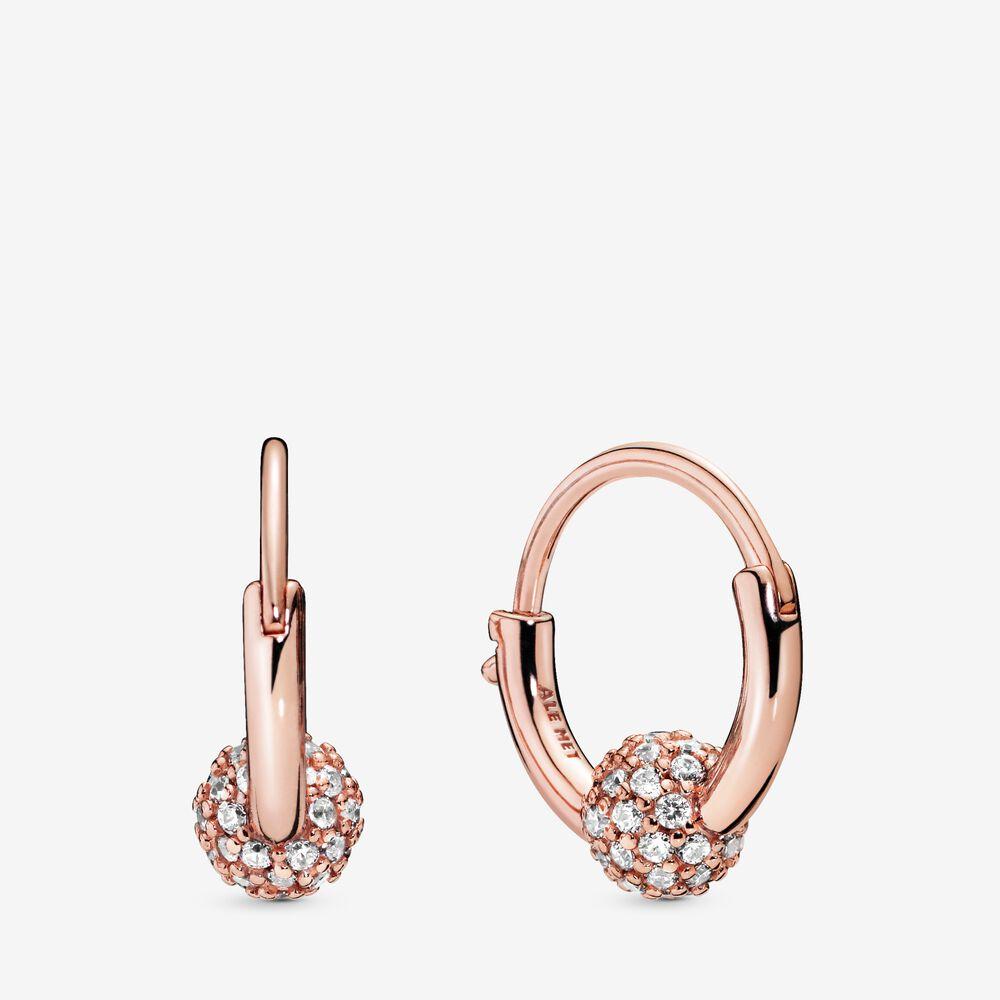 Pavé Bead Hoop Earrings Rose Gold