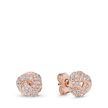 Sparkling Love Knot Stud Earrings, PANDORA Rose™ & Clear CZ, PANDORA Rose, Cubic Zirconia - PANDORA - #280696CZ