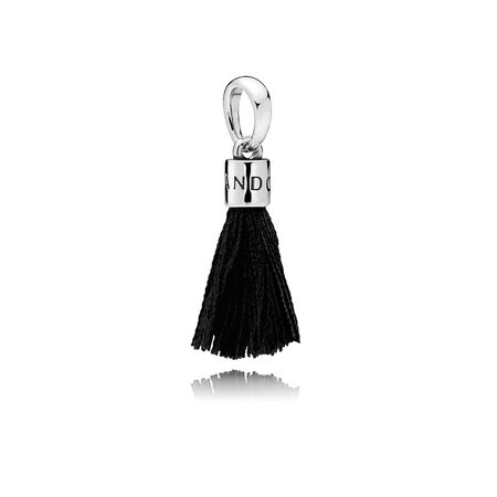 Black Fabric Tassel Dangle Charm