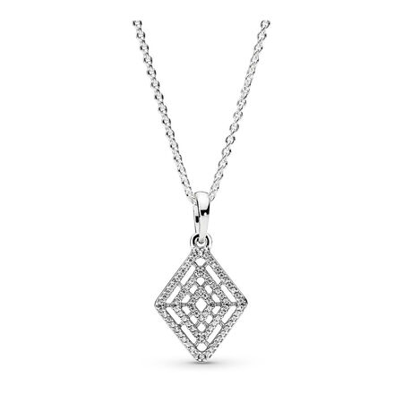Geometric Lines Necklace & Pendant, Clear CZ