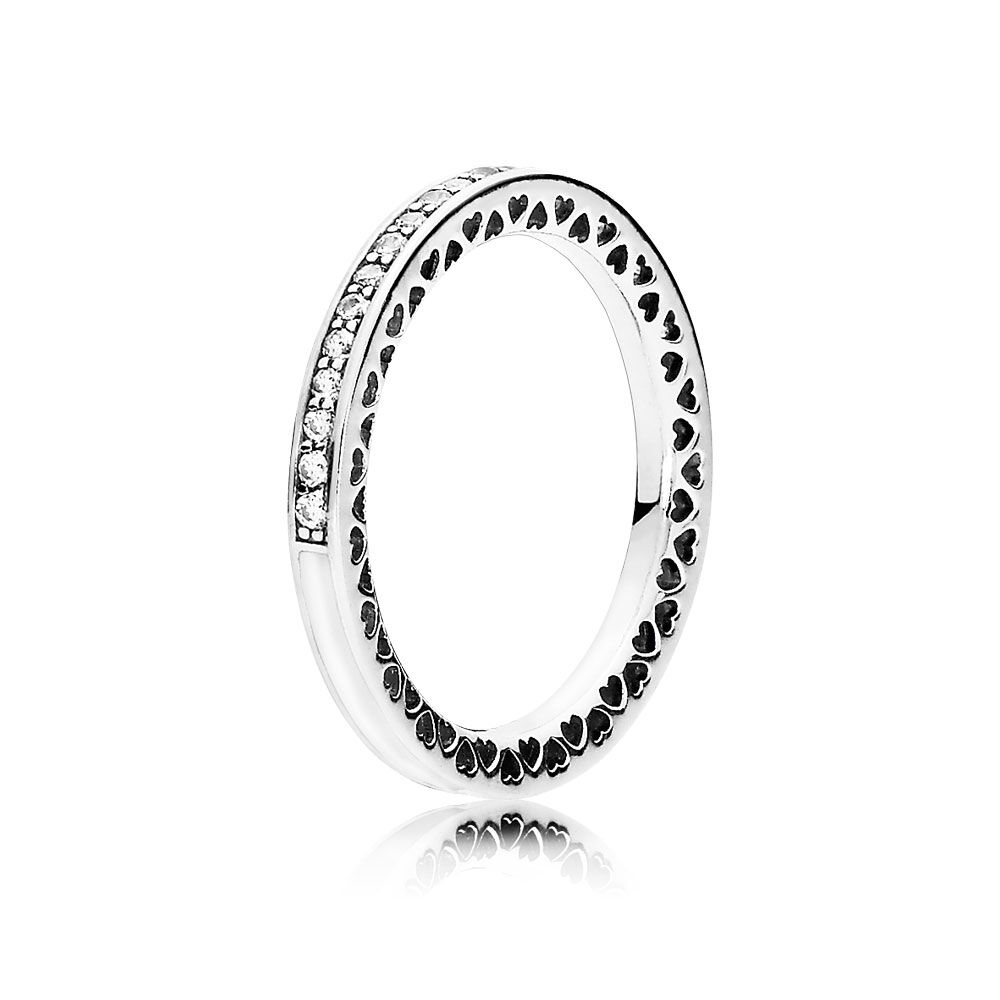 Front Row Silver Colour Set of 3 Black Enamel and Crystal Stacking Rings - Size P CuD6vHnT