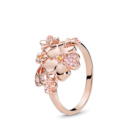 f0ed3275c Wildflower Meadow Ring, PANDORA Rose™ & Blush Pink Crystal PANDORA Rose,  Pink, Mixed stones