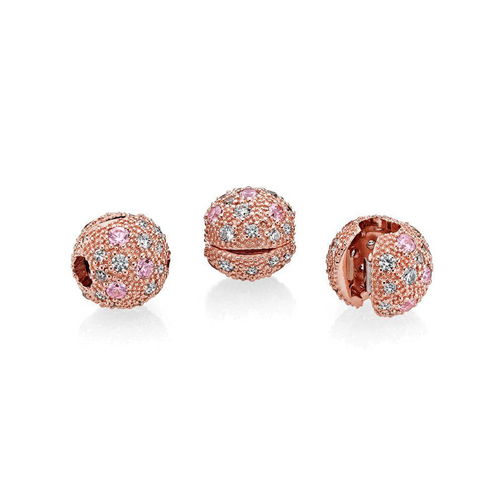 582880ba5 ... Stud Earrings UK 290598CZ Cosmic Stars Clip, PANDORA Rose™, Pink Clear  CZ .