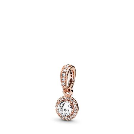 Classic Elegance Pendant, PANDORA Rose™ & Clear CZ, PANDORA Rose, Cubic Zirconia - PANDORA - #380379CZ