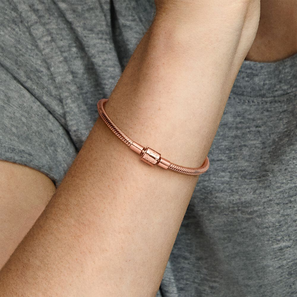 Pandora Moments Barrel Clasp Snake Chain Bracelet   Rose gold ...