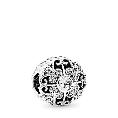 Fairytale Bloom Charm, Clear CZ, Sterling silver, Cubic Zirconia - PANDORA - #791961CZ