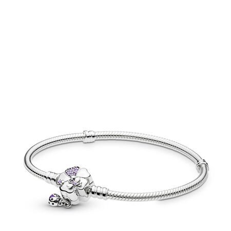 Wildflower Meadow Clasp Sterling Silver Bracelet, Sterling silver, Enamel, Purple, Mixed stones - PANDORA - #597124NLC
