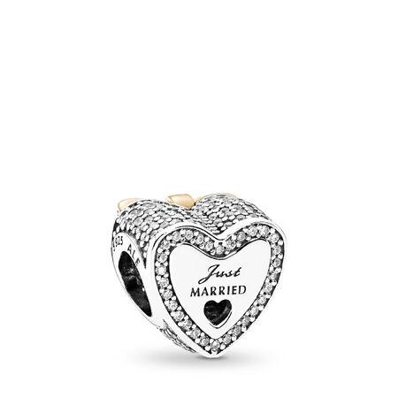 Wedding Heart Charm, Clear CZ