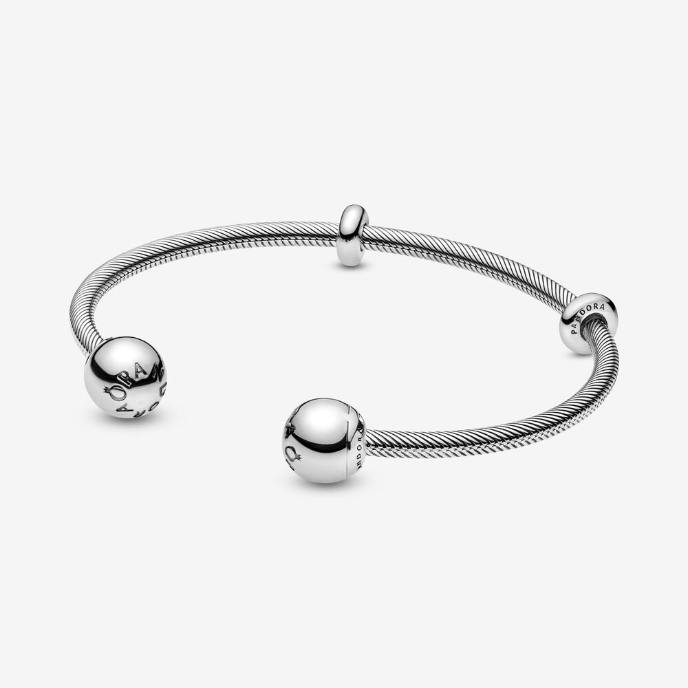 Pandora Moments Snake Chain Style Open Bangle   Sterling silver ...
