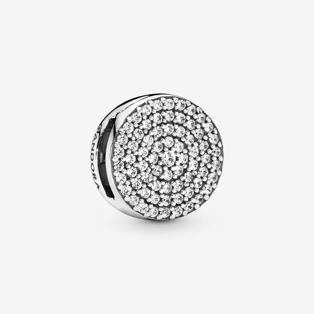 Round Pavé Clip Charm | Sterling silver | Pandora US