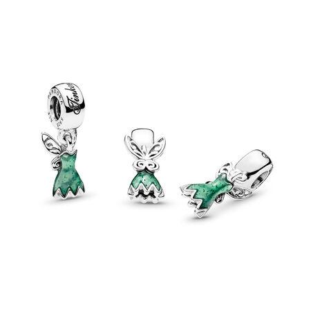Disney, Tinker Bell's Dress Dangle Charm, Glittering Green Enamel