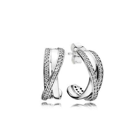 Entwined Hoop Earrings, Clear CZ