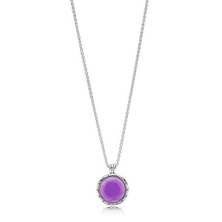 PANDORA Faceted Locket Necklace, Synthetic Amethyst