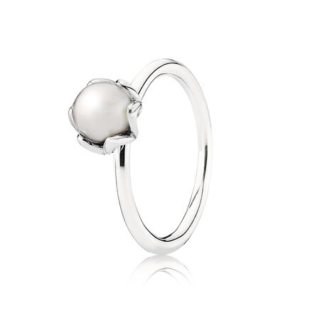 Cultured Elegance Stackable Ring, White Pearl