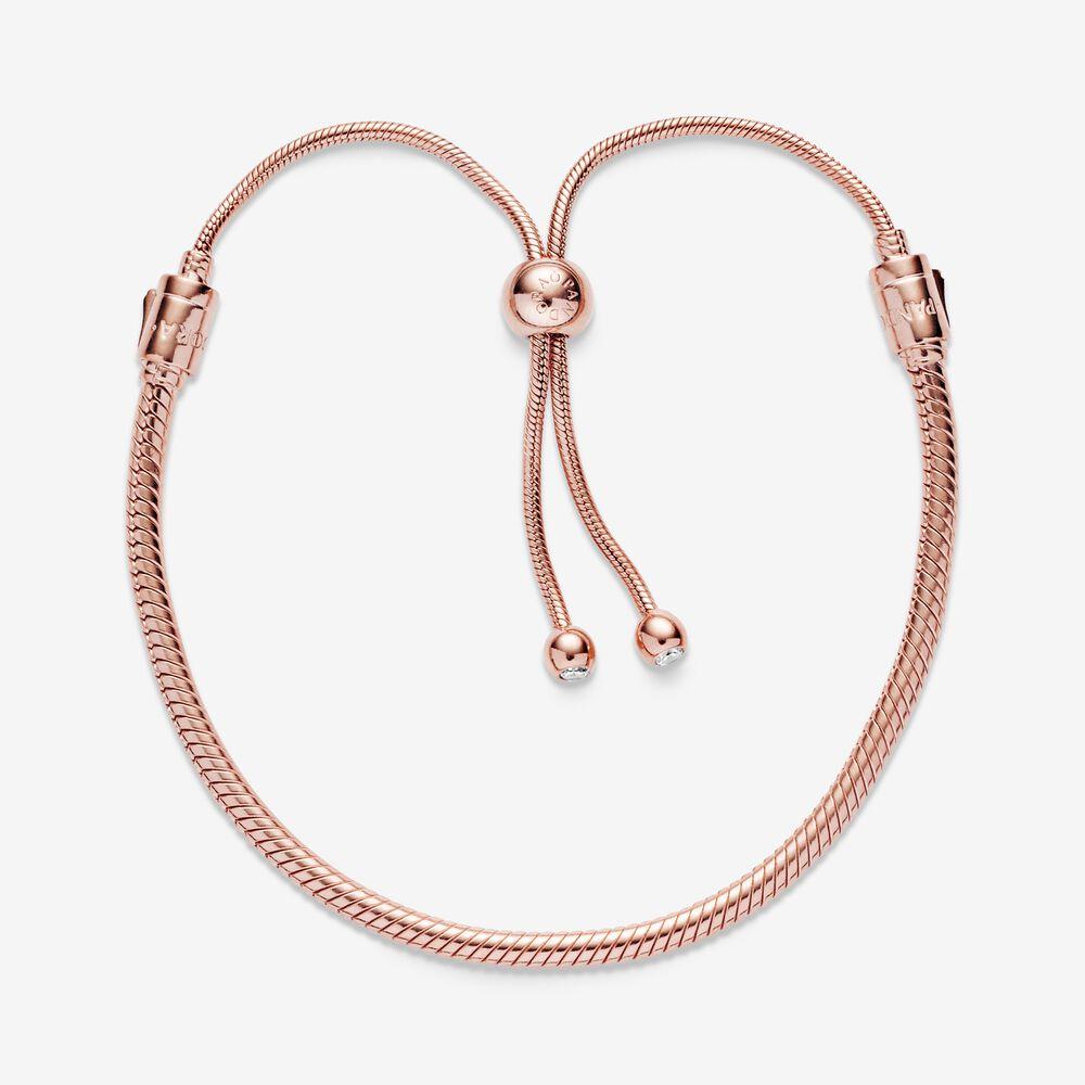 Pandora Moments Snake Chain Slider Bracelet | Rose gold plated ...