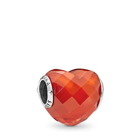 Shape of Love Charm, Orange Cubic Zirconia