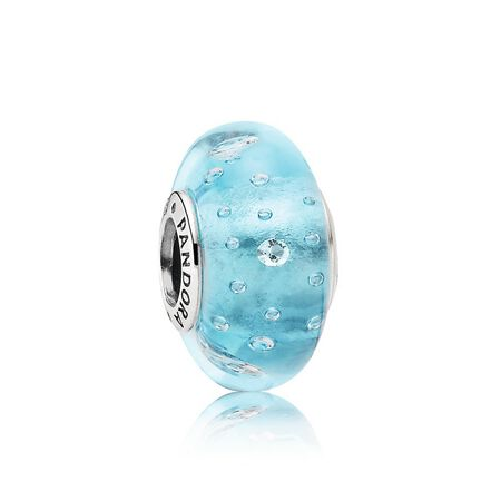 Blue Effervescence Charm, Murano Glass & Clear CZ