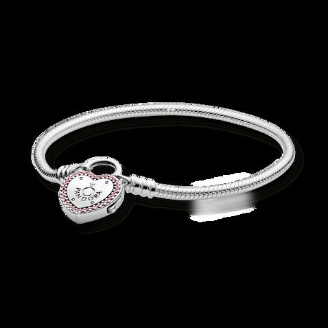 Pandora Moments Heart-Shaped Padlock Clasp Snake Chain Bracelet