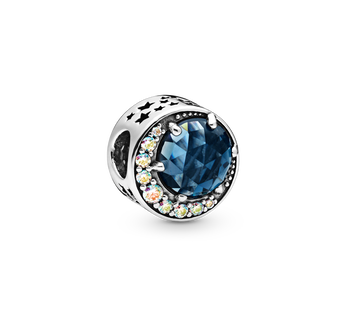Sterling silver charm with moonlight blue crystal and Aurora borealis clear cubic zirconia