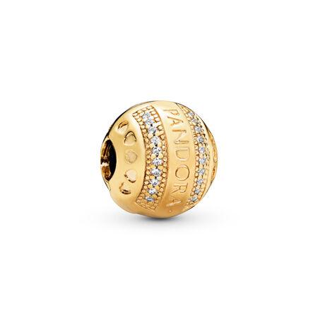 PANDORA Logo Hearts Clip, PANDORA Shine™ & Clear CZ, 18ct Gold Plated, Silicone, Cubic Zirconia - PANDORA - #767433CZ