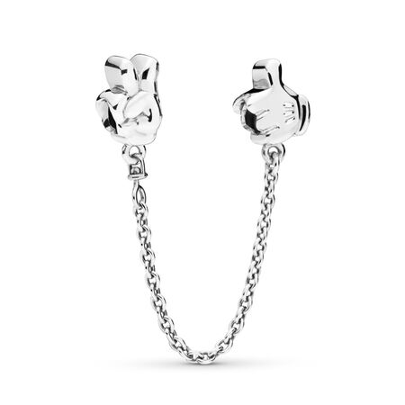 Disney, Mickey Gestures Safety Chain, Sterling silver, White - PANDORA - #797172