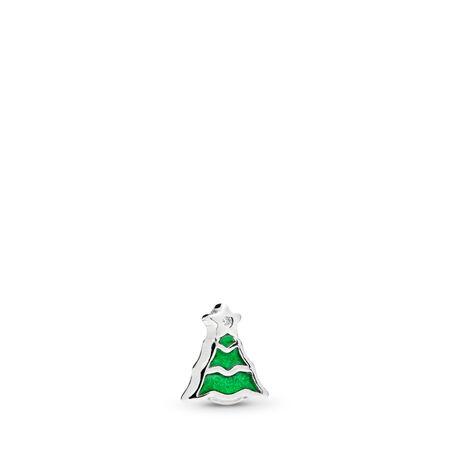 Christmas Tree Petite Locket Charm, Green Enamel & Clear CZ, Sterling silver, Enamel, Green, Cubic Zirconia - PANDORA - #796395EN25