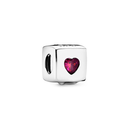Love Dice Charm, Red & Clear CZ