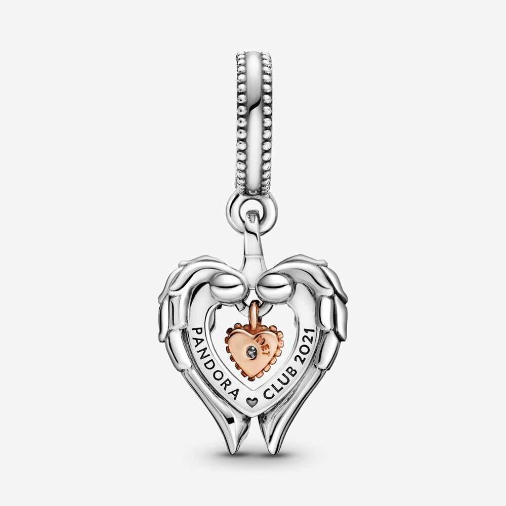 Pandora Club 2021 Angel Wings & Heart Dangle Charm | Two-tone ...