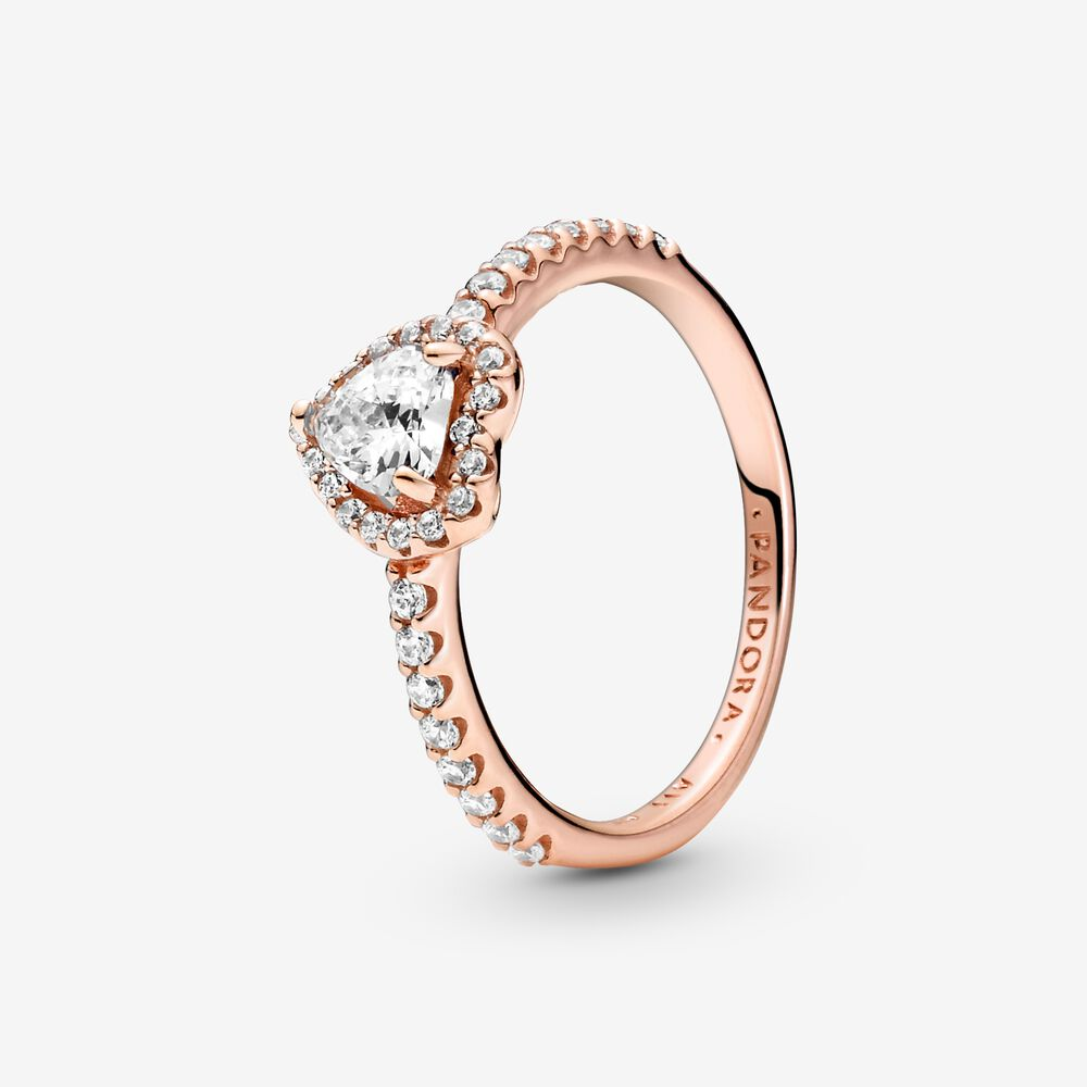 Sparkling Elevated Heart Ring | Rose gold plated | Pandora US