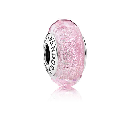 Pink Shimmer Charm, Murano Glass