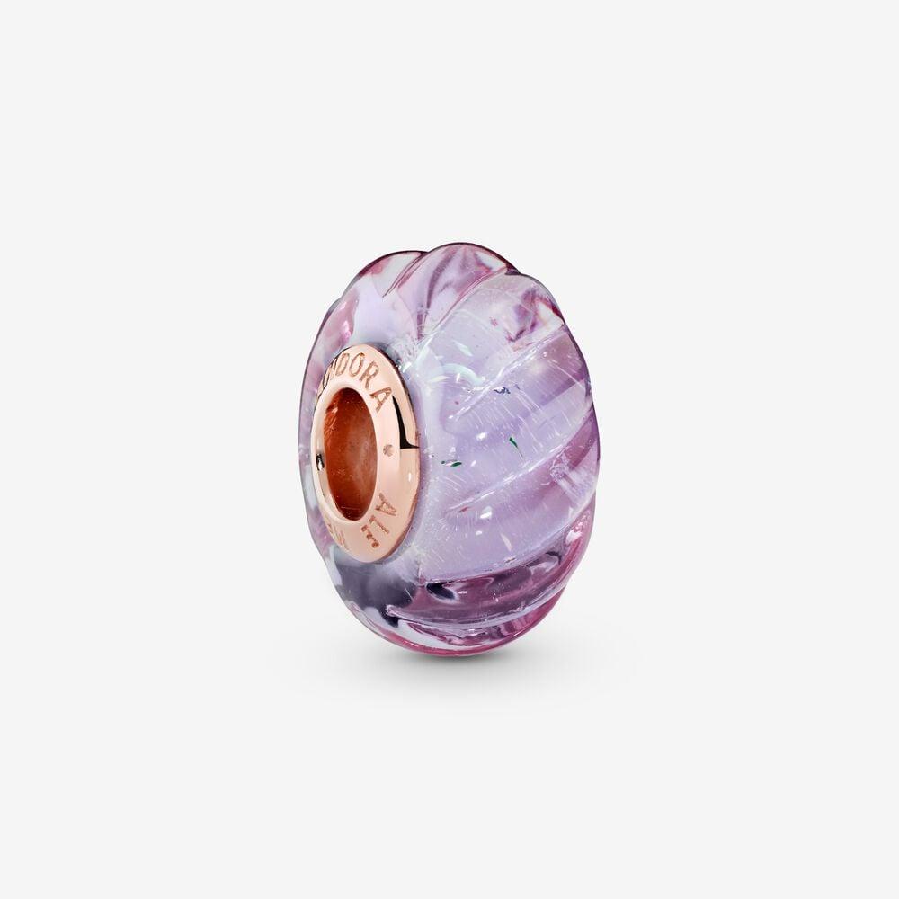 Glittering Grooves Murano Glass Charm