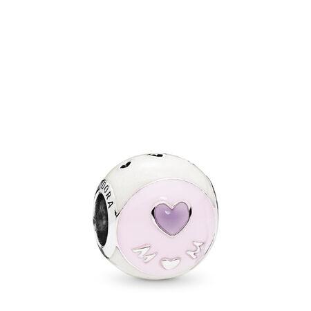 Love Mom Charm, Mixed Enamel, Sterling silver, Enamel, Pink - PANDORA - #797057ENMX