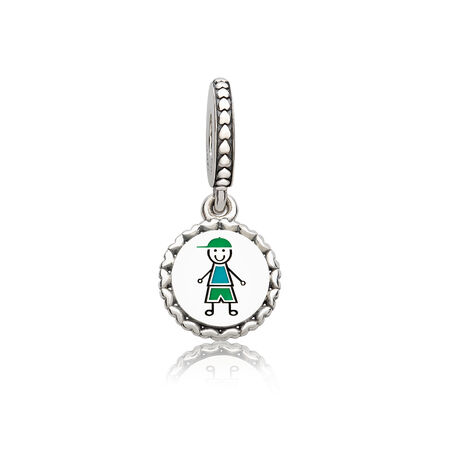 Boy Stick Figure Dangle Charm, Mixed Enamel