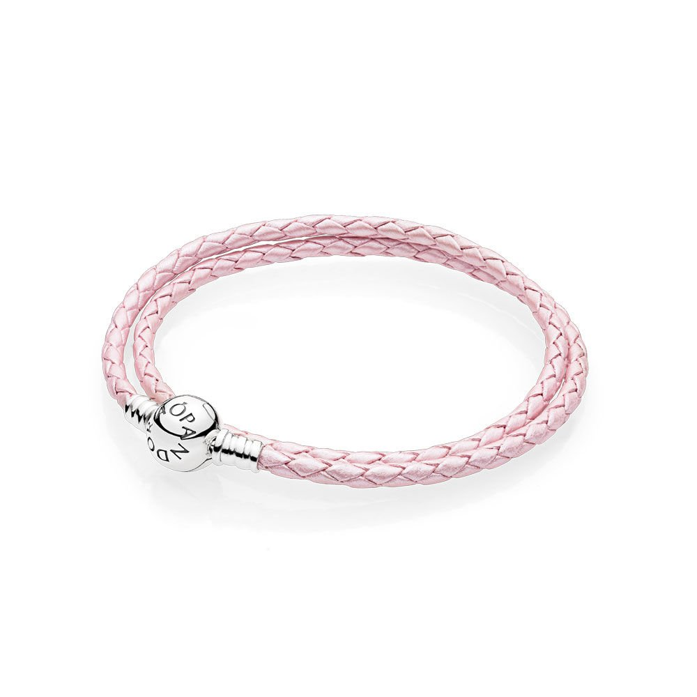 Leather Bracelet With Charms: Pink Braided Double-Leather Charm Bracelet