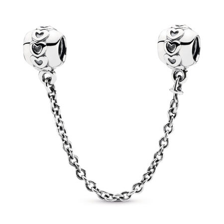 Band of Hearts Safety Chain Charm, Sterling silver - PANDORA - #791088