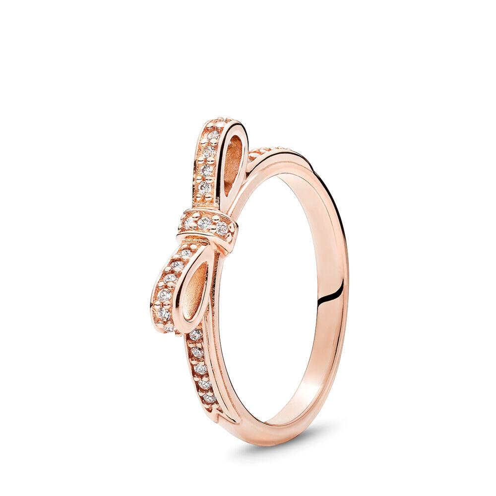 17231b9f2 Sparkling Bow Ring, PANDORA Rose™ & Clear CZ, PANDORA Rose, Cubic Zirconia