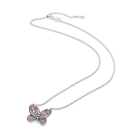 Dazzling Pink Butterfly Necklace